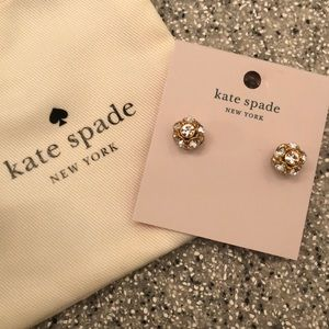 Kate Spade clear gold time to shine stud earrings
